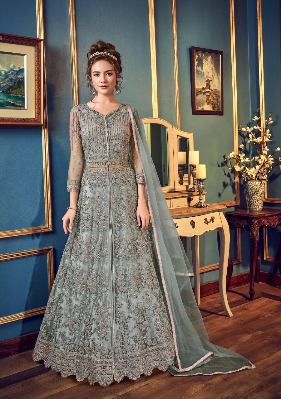 New Designer Gray Color Gown With Online