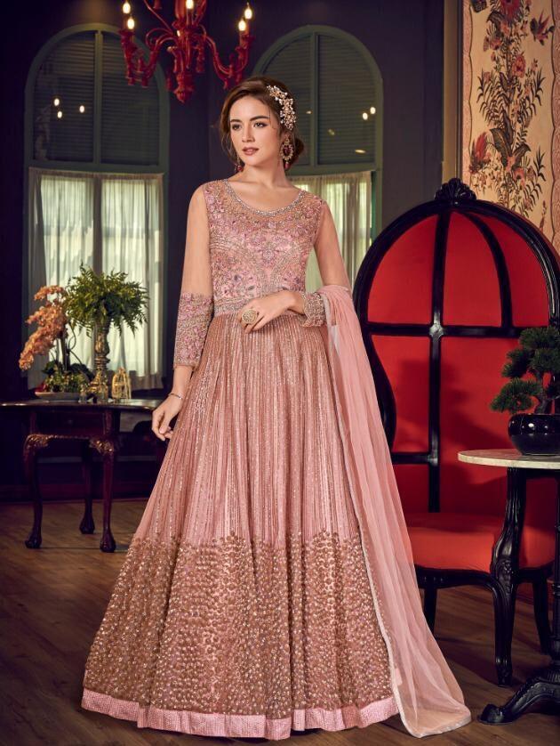 New Designer Baby Pink Color Gown with Online