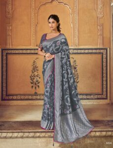 New Designer Best Embroidered Gray Color Party-wear Saree With Price