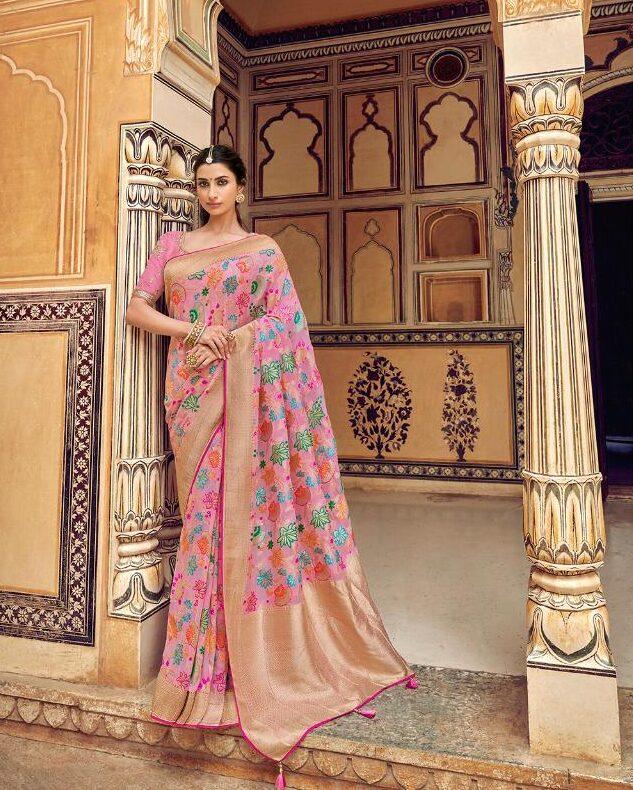 New Designer Best Embroidered Santoon Silk Saree With Price