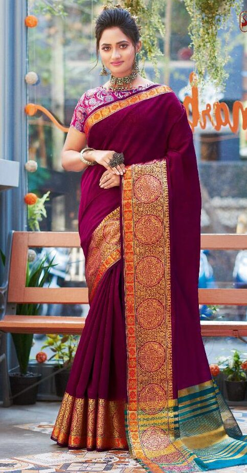 New Designer Blouse Wine Color Silk Saree With Price.