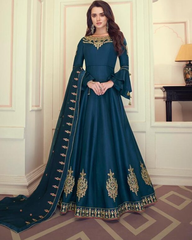 New Designer Blue Color Anarkali Suit With party Wear