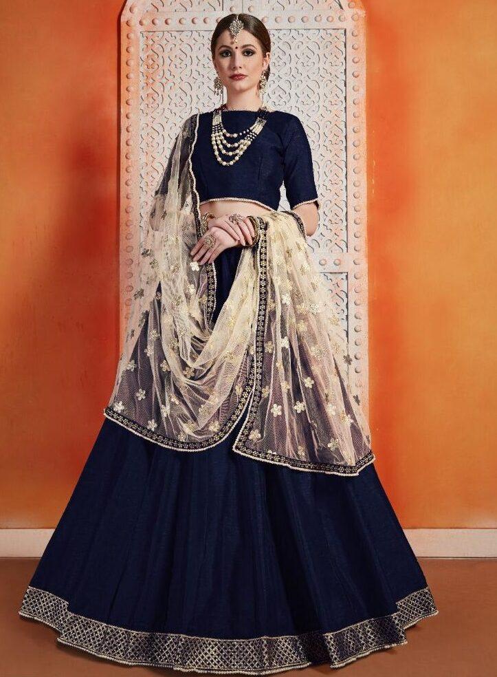 New Designer Blue Color Florence Lehenga And White Dupatta.