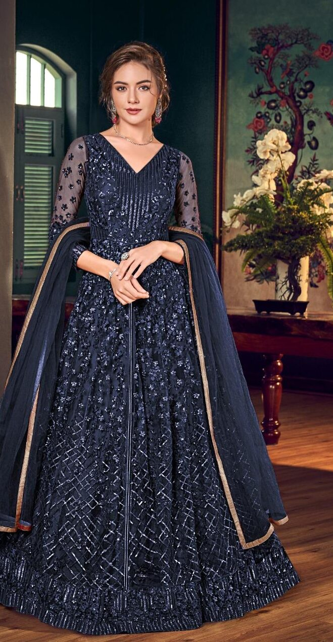 New Designer Blue Color Gown With Price