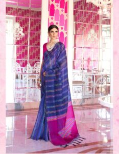 New Designer blue mix Red  Silk Saree With Price.