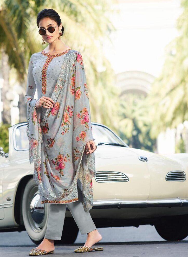 New Designer Cream Blue Color Neck Design Salwar Suit