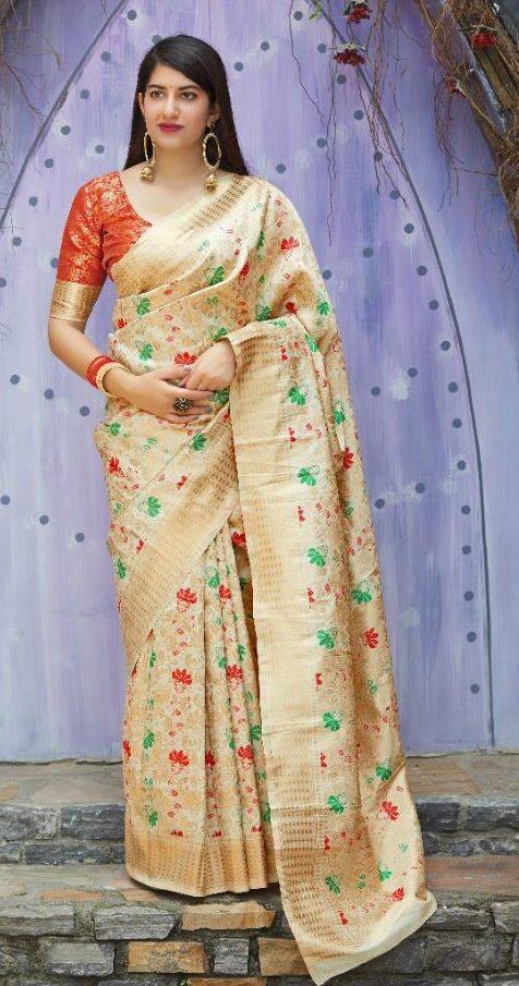 New Designer Cream Color Banarsi Saree With Price