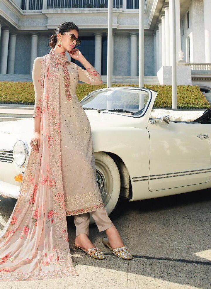 New Designer Cream Color Salwar Suits For Ladies
