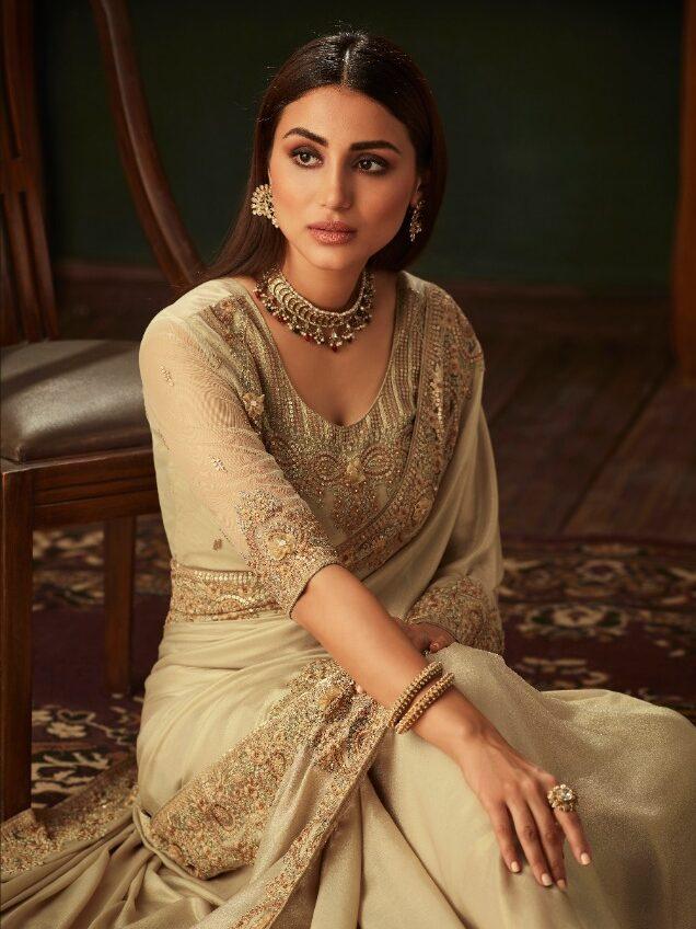 New Designer Cream Color Saree For Wedding