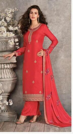 New Designer Dark Orange Color Tussar Silk Suit With Palazzo