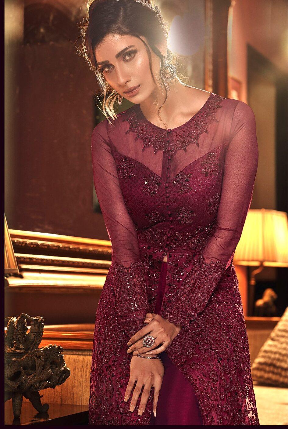 New Designer Dark Pink Indian Wedding Gown With Price