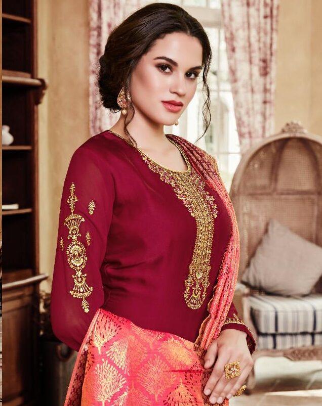 New Designer Dark Red Color Punjabi Suit For Girls