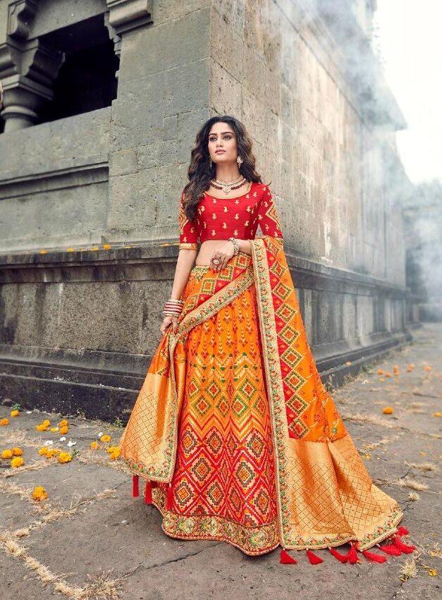 New Designer Golden Color Lehenga For Wedding