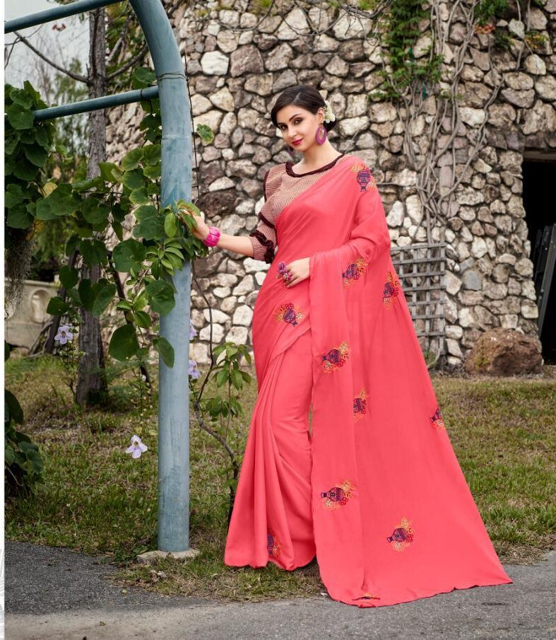 New Designer Pink Color Saree With contrast Blouse.