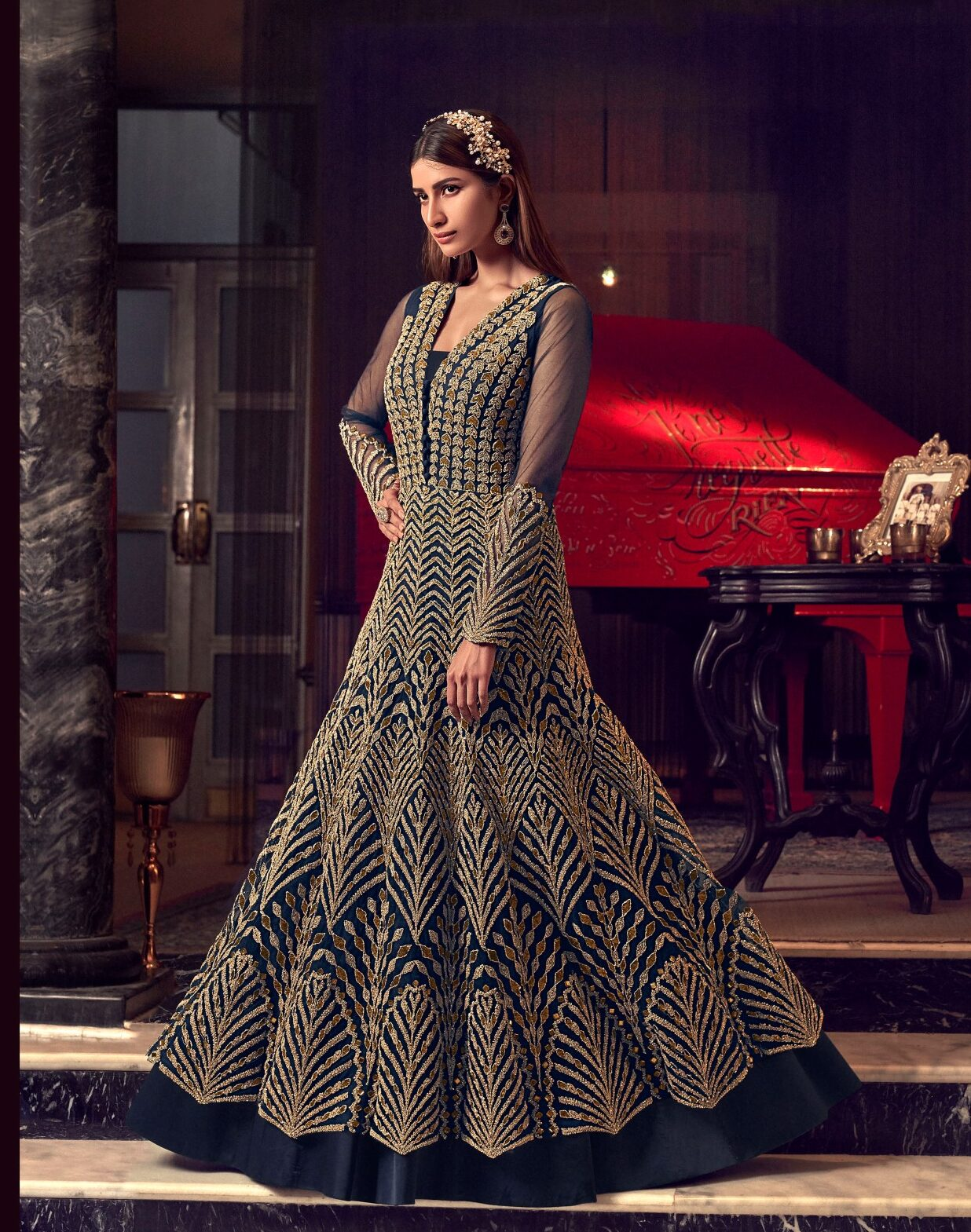New Designer Grey Color Ceremony Gown with price