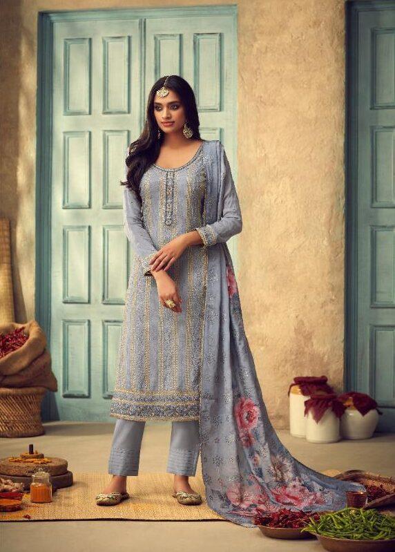 New Designer Light Blue Color Digital Print Silk Dupatta