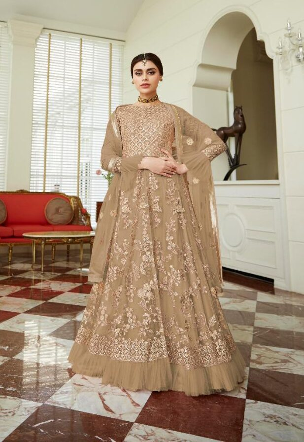 New Designer Light Brown Color Net Gown For Women.