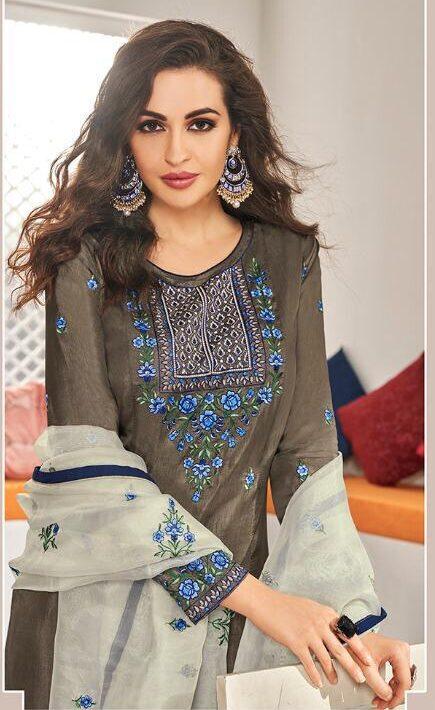 New Designer Dark Gray Color Heavy Work Salwar kameez