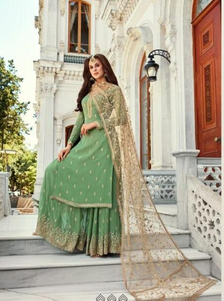 New Designer Light Green Color Party-Wear Punjabi Sahara Suit