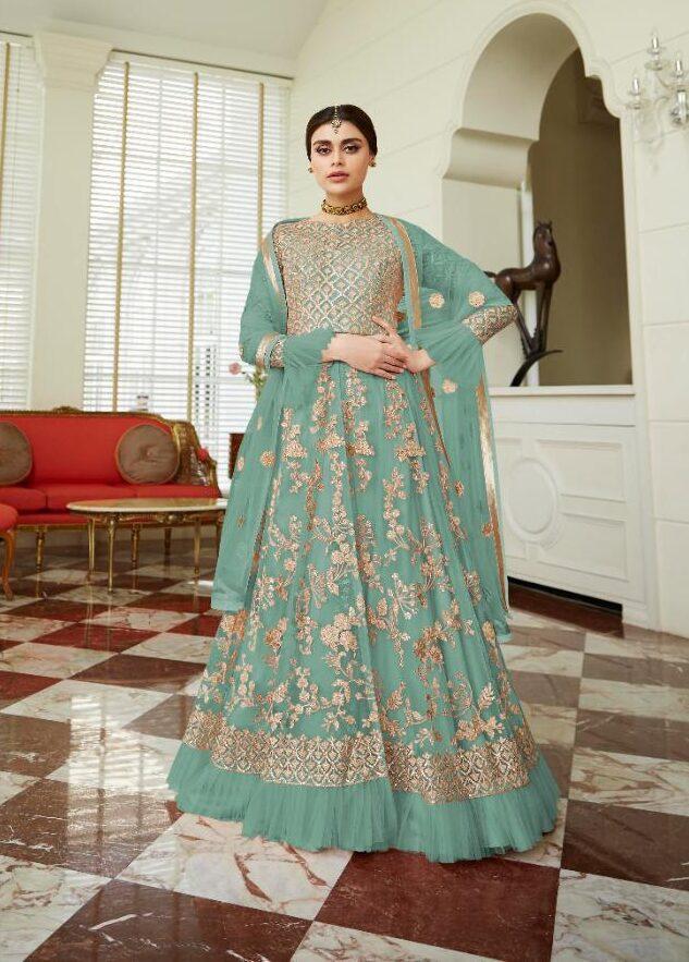 New Designer Light Sky Blue Net Gown Online Shopping.