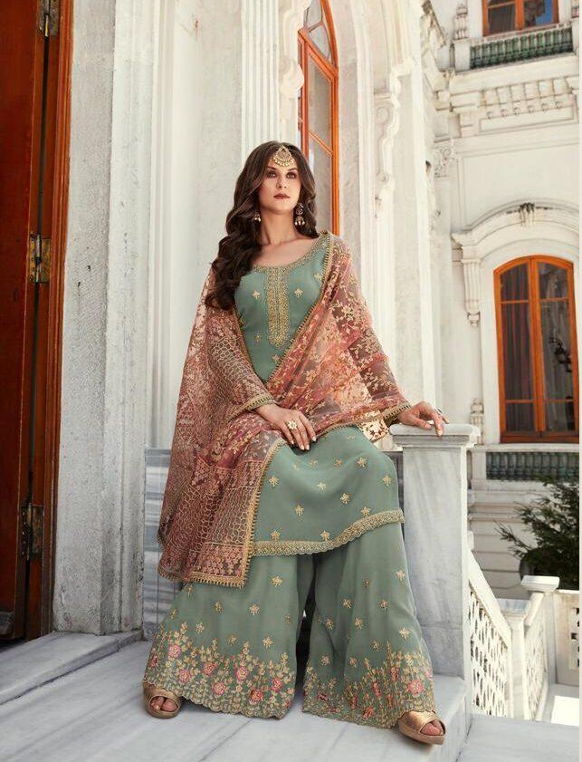 New Designer Light gray Party Wear Punjabi Sahara suit