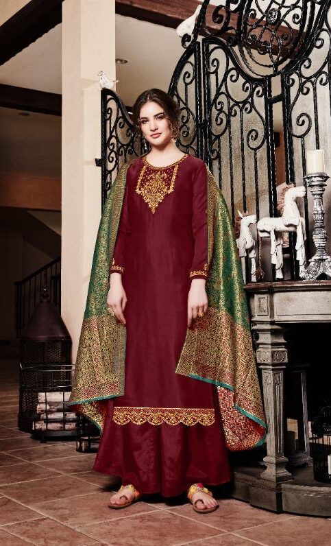 New Designer Maroon Color Punjabi Suit For Girls