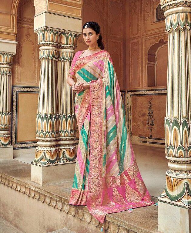 New Designer Multi-Color Santoon Silk Saree With Price