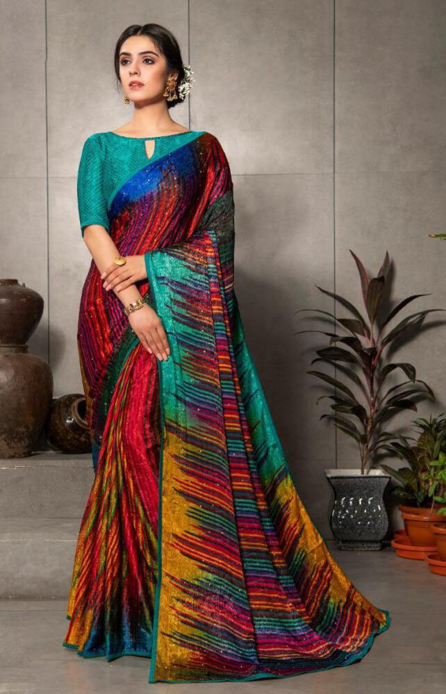 New Designer Multi Color Silk Crepe Saree With Price.