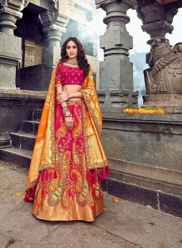 New Designer Orange Color Lehenga For Girls