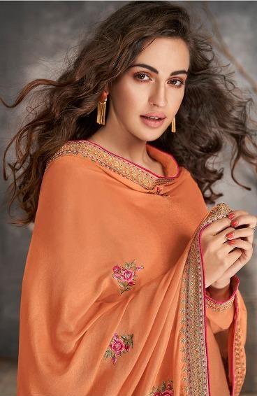 New Designer Orange Color Tussar Silk Suit Churidar Neck Designs