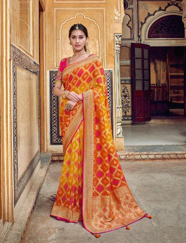 New Designer Orange-Yellow Color Party-wear Silk Saree With Price