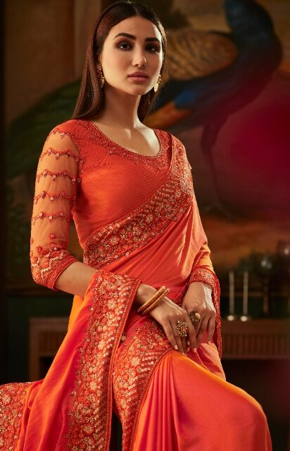 New Designer Orange color Saree Style.
