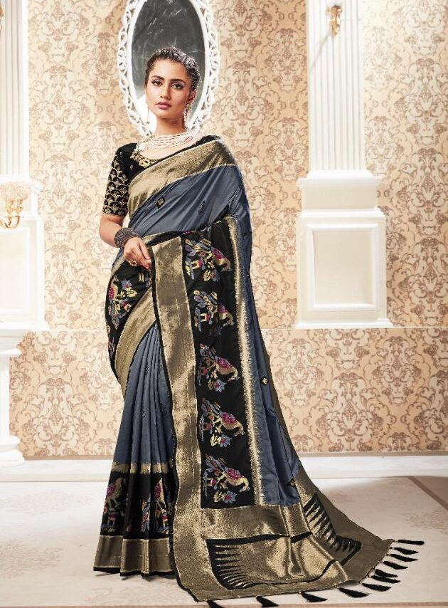 New Designer Party Wear Saree in silk with Contrast blouse