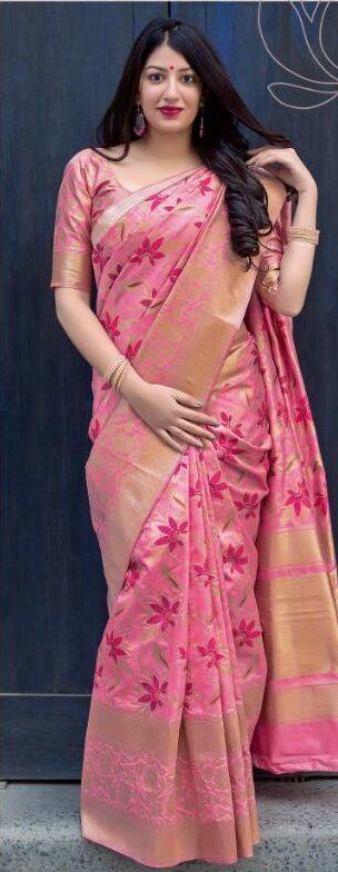 New Designer Pink Color Jamdani Sarees With Price