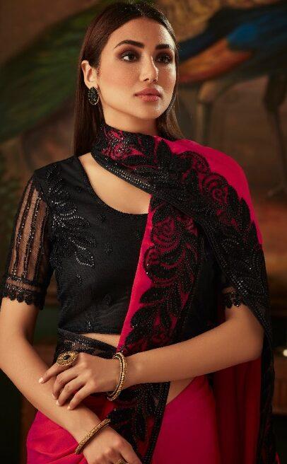 New Designer Pink Color saree New Lartest Design