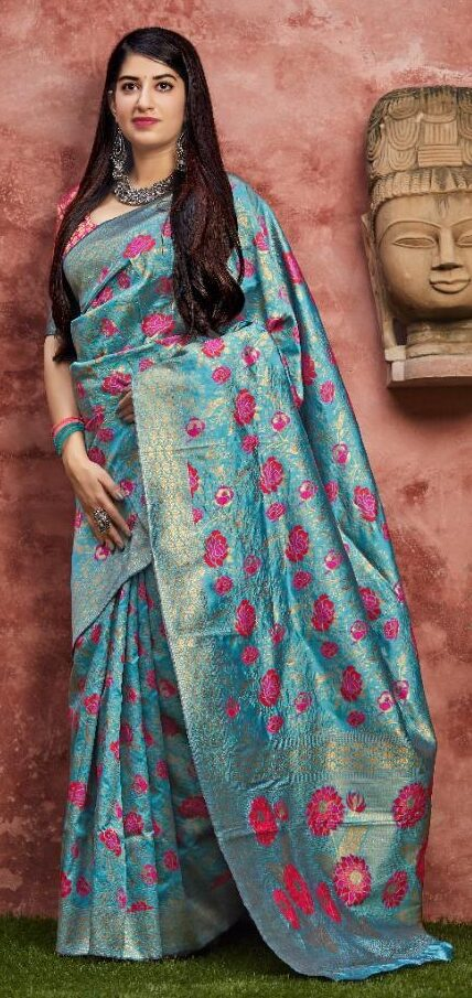 New Designer Sky-blue Color Banarsi Saree With Price.