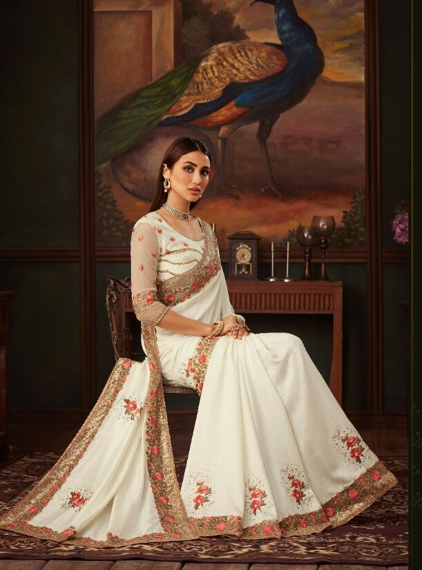 New Designer White Color Latest Saree with Price