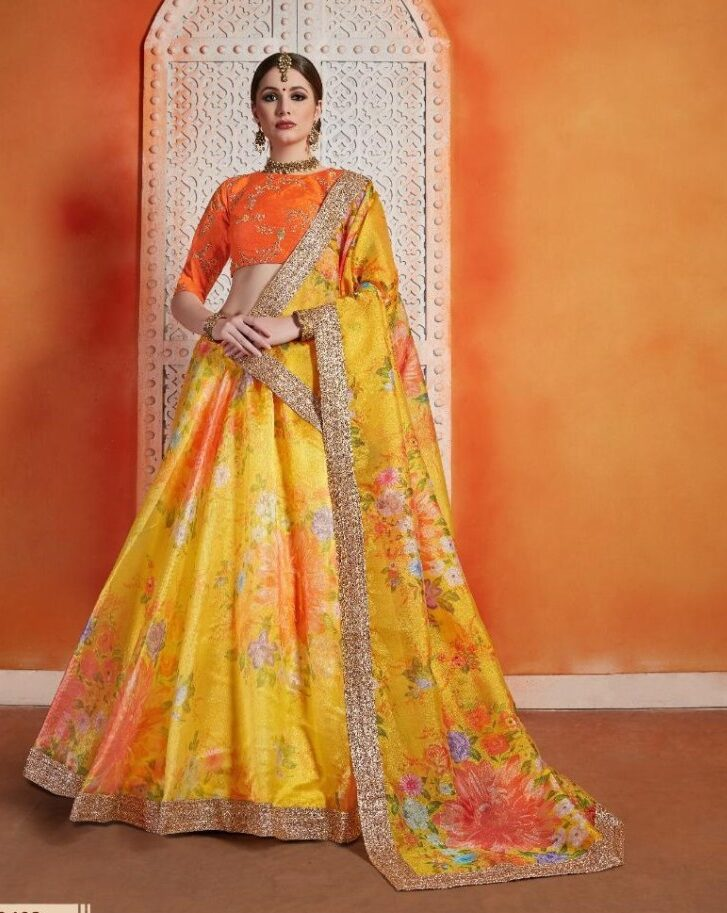 New Designer Yellow Color Flower printer Party Wear Lehenga