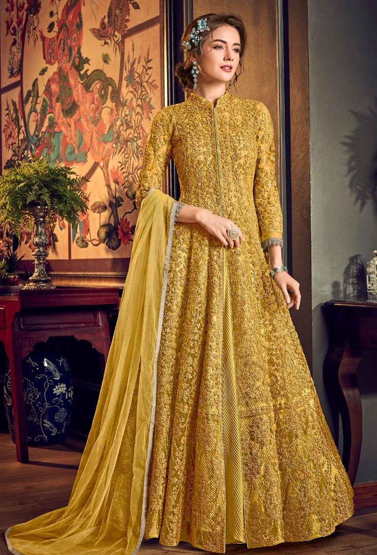New Designer Yellow Color Gown With Online