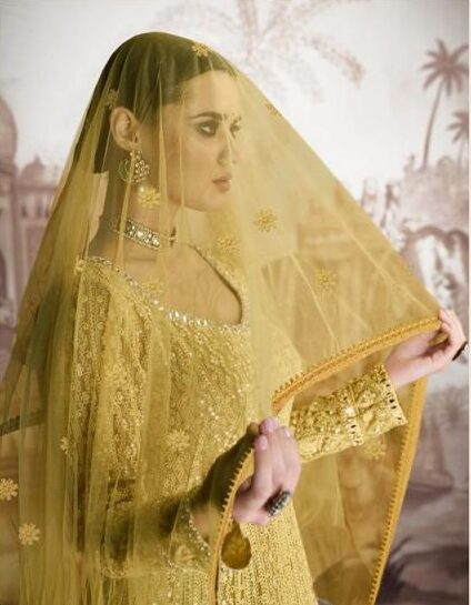New Designer Yellow Color Indo-weestern Party Wear Gown With Price