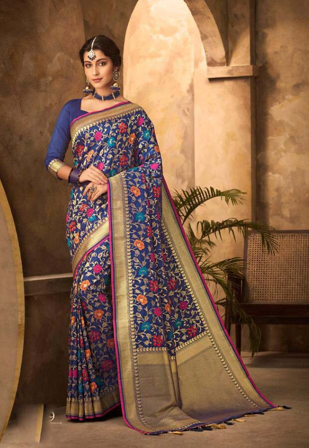 New Designer blue color cotton silk saree for wedding