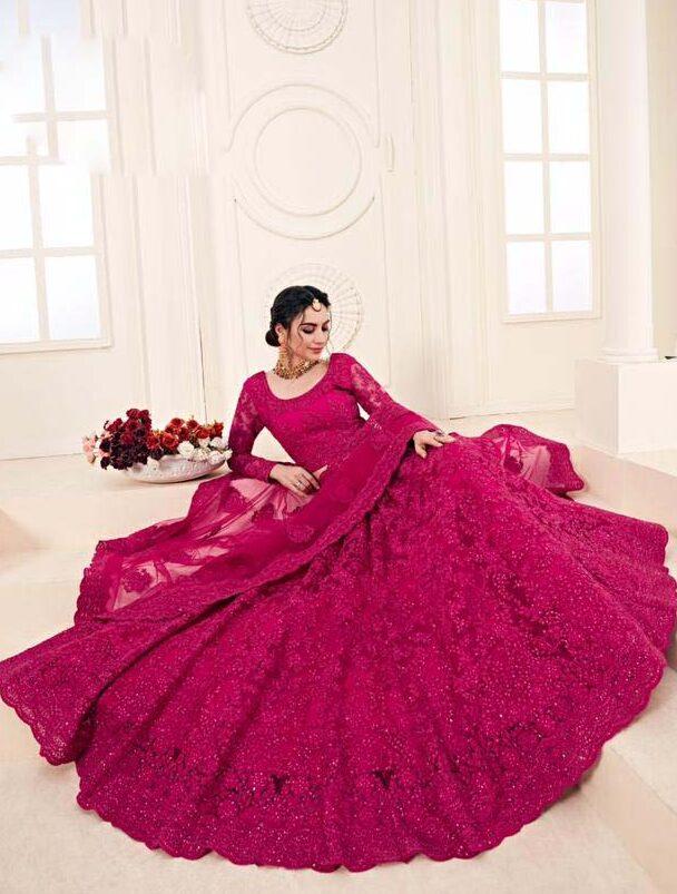 New Designer pink color bridal lehenga for engagement