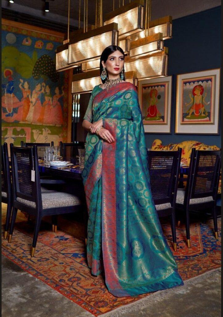 New Designer sky blue color Handlooms Saree Online.