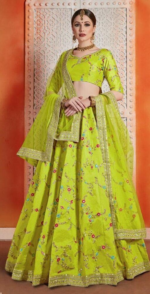 New Designe rLight gray green Party-wear Florence Lehenga Online
