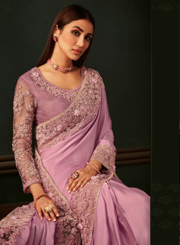 New Designer Baby Pink Color Saree With Blouse