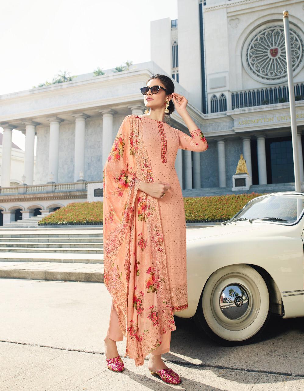 New Designer Orange Color Neck Design Salwar Suit