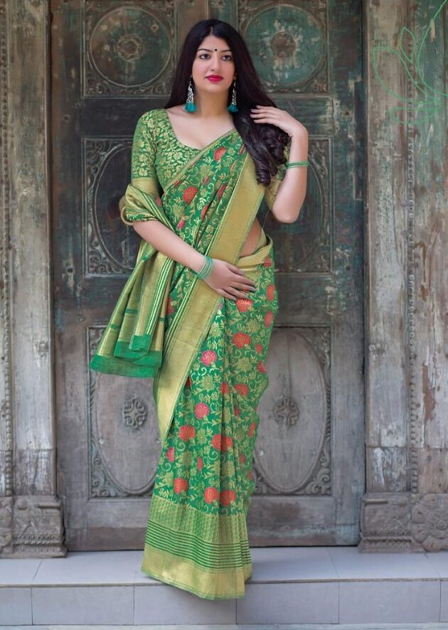 New Designer Green Color Jamdani saree with Price.