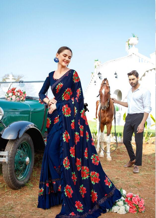New Fashion of Sarees in Royal Blue