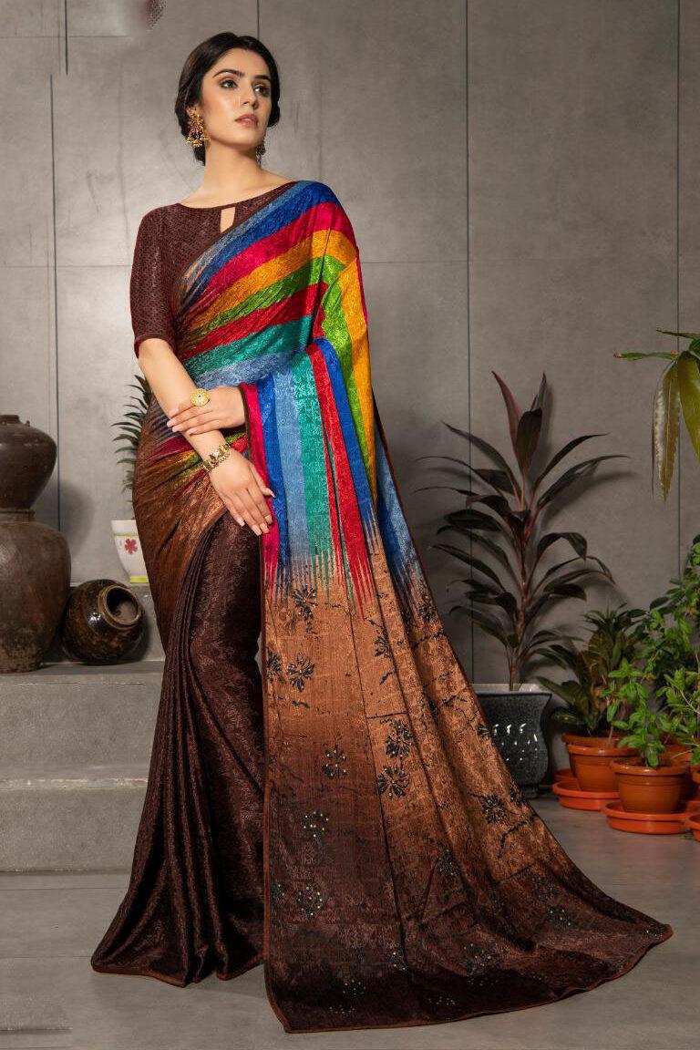 New Launched Catalog Silk Crepe Multi-Color Saree.