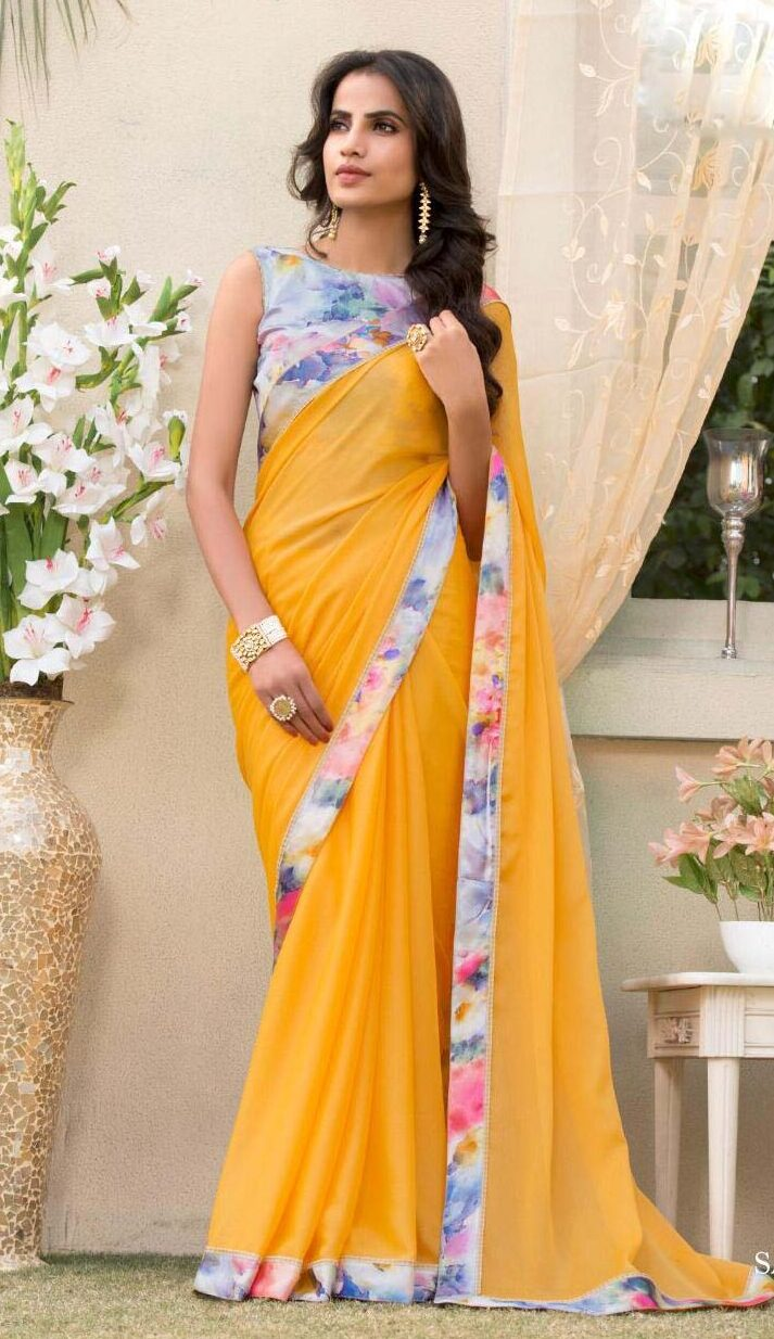 New designer Yellow color plain saree with printed blouse.